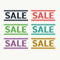 Verkaufsstempel in sechs verschiedenen Farben