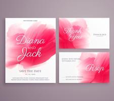 bewaar de datum bruiloft uitnodigingskaart met penseelstreek op backg