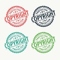 carimbo de borracha de crachá de direitos autorais definido em cores diferentes