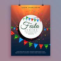 design de folheto para festa junina celebração evento design