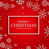 fondo rojo de feliz navidad con copos de nieve blancas