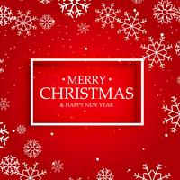 red background of merry christmas with white snowflakes