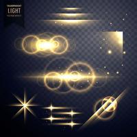 Efecto de luz transparente y colección de destello de lente.