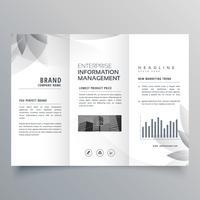 Plantilla de folleto tríptico creativo con forma gris abstracta