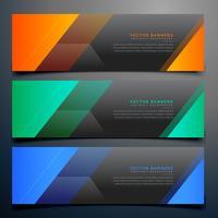 coleção de banners horizontais escuros em formas abstratas