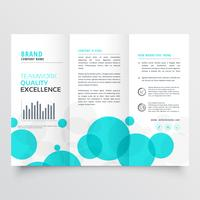 elegant creative blue circles tri fold brochure design template