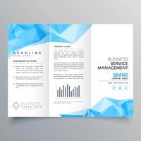 abstracte blauwe geometrische driebladige brochure ontwerpsjabloon
