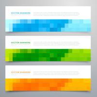 banners de mosaico colorido conjunto de três