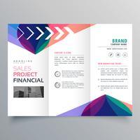 Plantilla de folleto tríptico empresarial con colorido abstracto ondulado s
