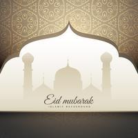 Hermoso eid mubrak saludo con forma de mezquita y patt islámico