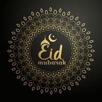 eid mubarak fundo com mandala dourada