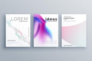 Forma de línea abstracta y estilo fluido cubre conjunto en hipster moderno