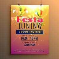 diseño de flyer de temporada de carnaval de celebración de fiesta impresionante junina