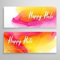 holi festival banners met kleurrijke achtergrond