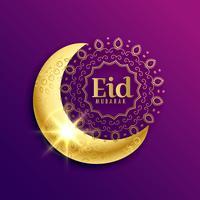 wunderschöner goldener Mond für Eid Mubarak Muslim Festival