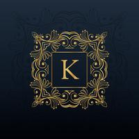 classic floral monogram design for letter K logo