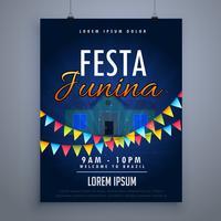 molde do projeto do cartaz do feriado do junina do festa