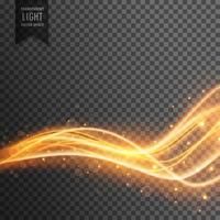 Efecto de luz transparente con brillo dorado.