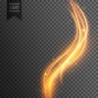 magical transparent light effect in wave style and golden sparkl