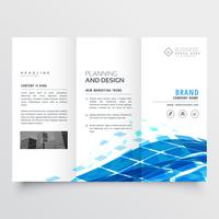 corporate tri fold brochure design with blue abstract shapes