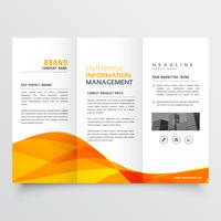 tri fold brochure design corporate business template with orange