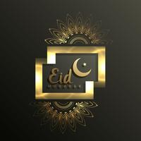 Diseño de tarjeta Golden Eid Mubarak para festival musulmán.