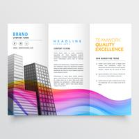 färgglada kreativa trifold företagsbroschyrdesign