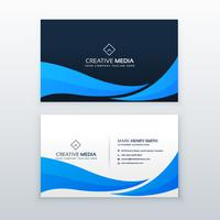blue wave business card design template