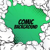 comic background with clouds frame pop art