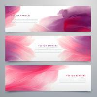 Banners de acuarela rosa establecer plantilla