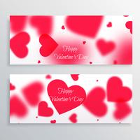valentines day banners with blurred hearts