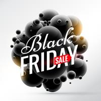 black friday sale background with bunch of black spheres and yel