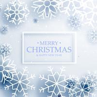 Saludo feliz Navidad estilo minimalista con copos de nieve
