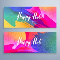 banners de festival feliz holi conjunto com aquarelas