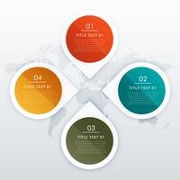 projeto de infográficos de quatro etapas de estilo círculo e seta para empre