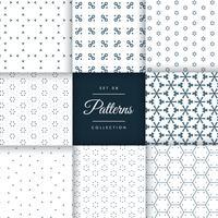 coleção de pacote de padrão mínimo bonito em 8 estilos diferentes