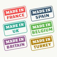 gemaakt in Frankrijk, Spanje, Verenigd Koninkrijk, België, Groot-Brittannië en turks stempels set
