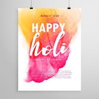 design de folheto feliz holi para convite de festa