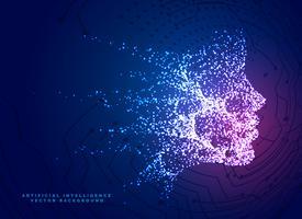 fundo de conceito de tecnologia de face de partícula digital para artifici