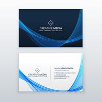blue wave vector business card design template