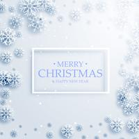 stylish merry christmas greeting card design with white snowflak