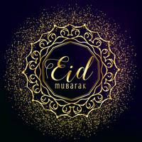 eid mubarak greeting with golden mandala decoration and glitter