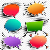 colorful comic pop art chat bubble set