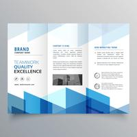 plantilla de diseño de folleto de negocio azul geométrico tri fold