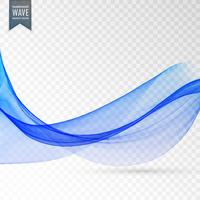 abstract blue smooth wave on transparent background