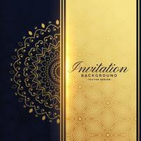 beau fond d'invitation doré avec décoration de mandala