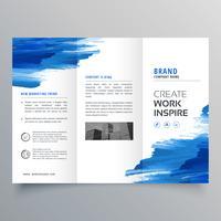 abstracte aquarel zakelijke driebladige brochure ontwerpsjabloon