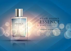 Concepto de anuncios de perfumes de esencia con botella transparente y li bokeh.