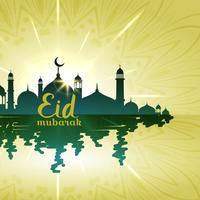 Fondo eid mubarak con mezquita con reflejo de agua