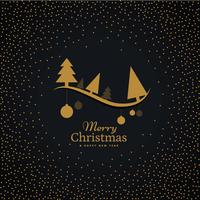 elegant gyllene julhälsning med hängande bollar och träd